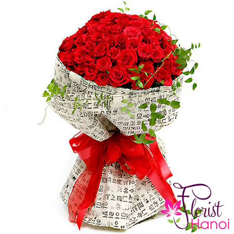 99 red roses of hand bouquet free ship