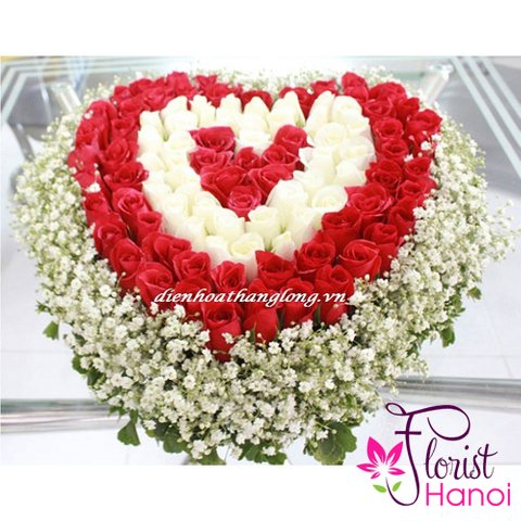 99 roses in heart shape delivery same day