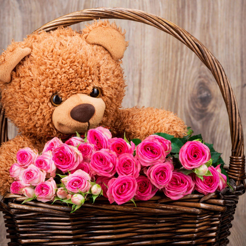 Combo Teddy Bear and 24 Pink Rose