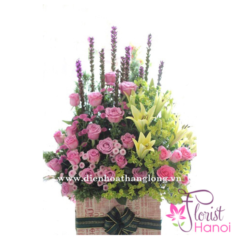 Hanoi birthday flowers basket free delivery