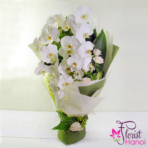 White orchid bouquet free delivery