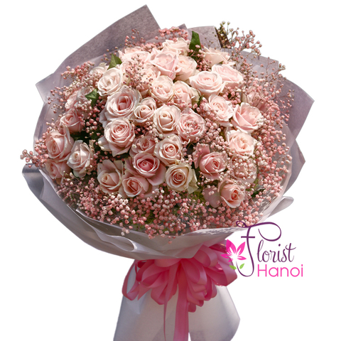Love flowers with pink roses in Vietnam