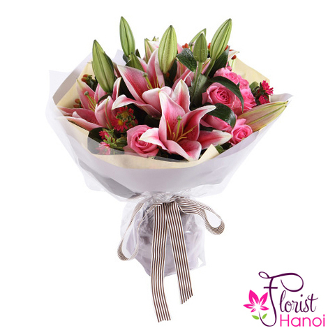 Bouquet of pink lilies online delivery same day