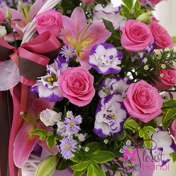 Pink roses flowers Hanoi for birthday free delivery