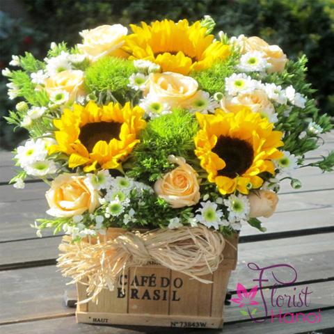 Send birthday flowers basket to Hanoi
