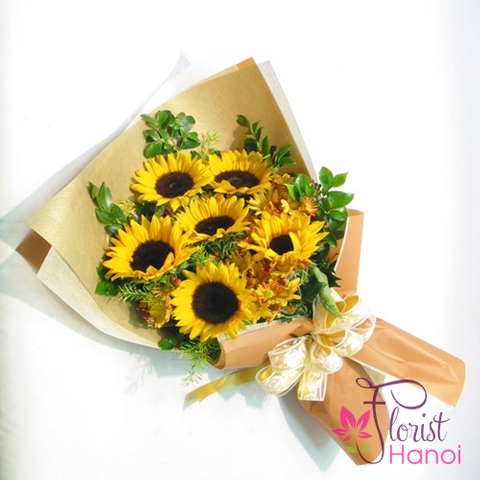 Sunflower birthday bouquet in Hanoi