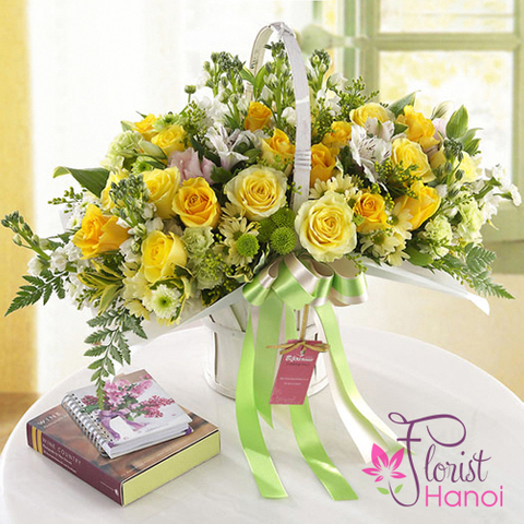 Yellow roses birthday arrangement
