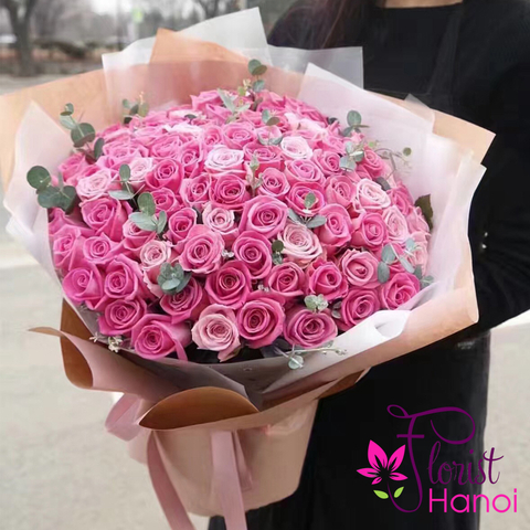 Pink rose bouquet hanoi vip flower