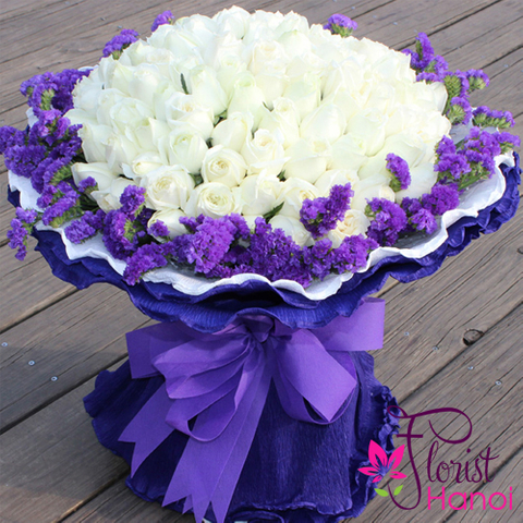 100 white rose bouquet