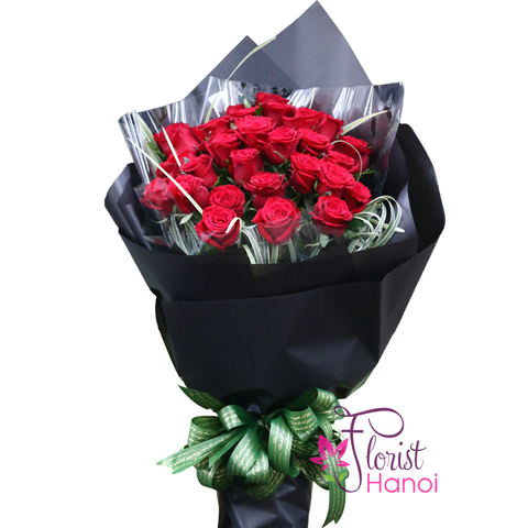 Red roses bouquet free shipping in Hanoi