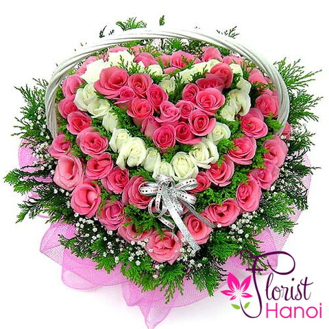 Heart flowers from beautiful roses florist Hanoi