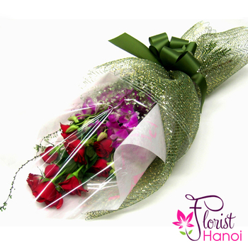 Bouquet of roses and dendrobium orchids online