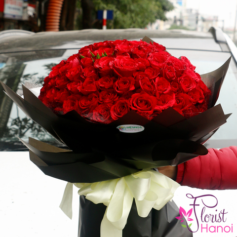 99 red roses bouquet Hanoi florist