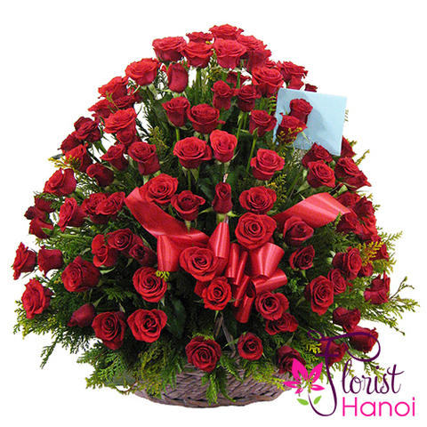 99 red roses basket Hanoi flowers shop