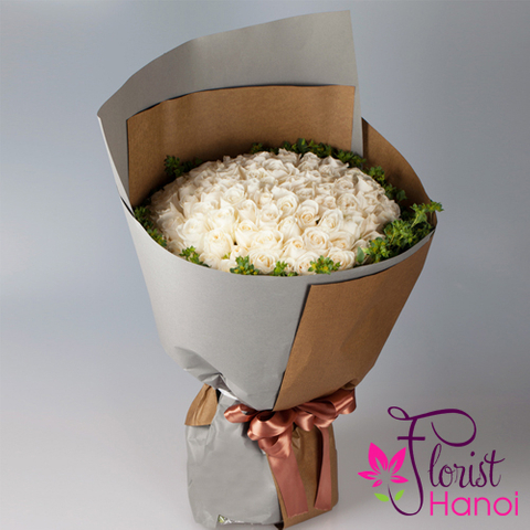 99 white roses bouquet in Hanoi florist