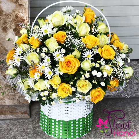 Hanoi yellow rose basket