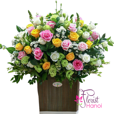 Send mixed roses basket to Hanoi