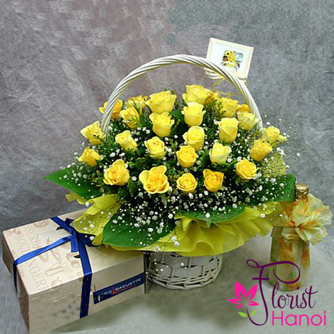 Send yellow rose basket to Vietnam