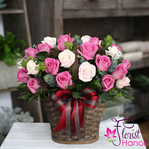 Pink rose arrangement Hanoi florist