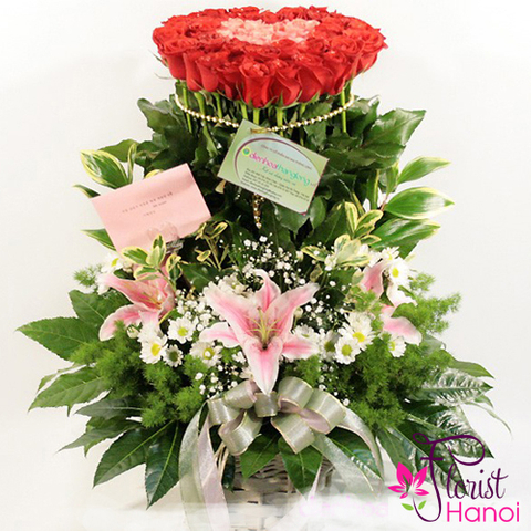 Basket of red rose and lilies