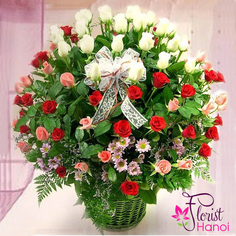 Mixed rose basket in Vietnam