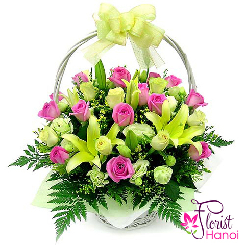 Basket pink roses and lilies
