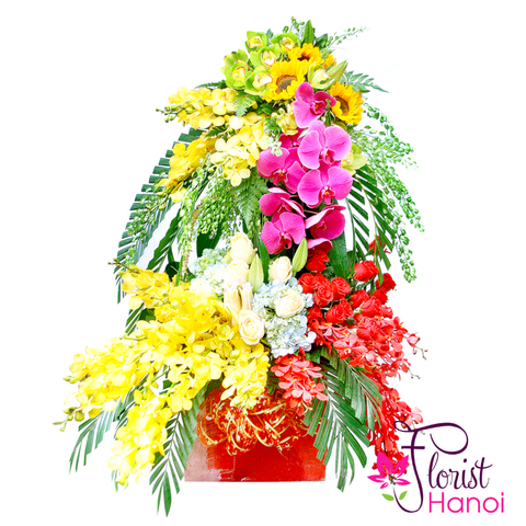 Basket flowers arrangements for boss