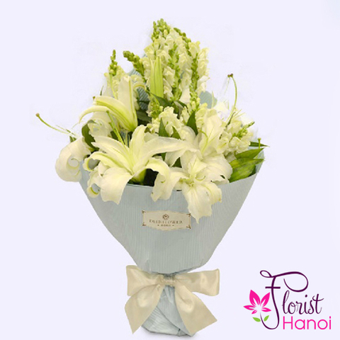 Send white flower bouquet in Vietnam