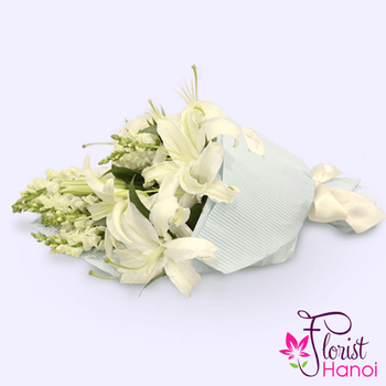 Send white flower bouquet to Vietnam