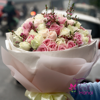 Beautiful bouquet of roses in Hanoi Vietnam