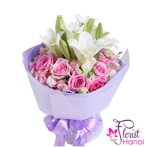 White lily and pink roses bouquet