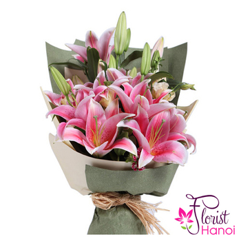 Pink lily bouquet free delivery in Hanoi