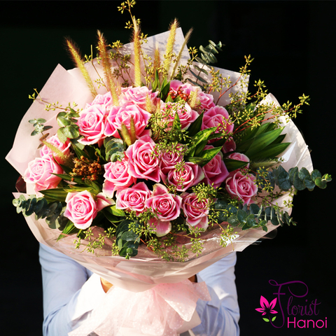 Pink roses bouquet to hanoi delivery now