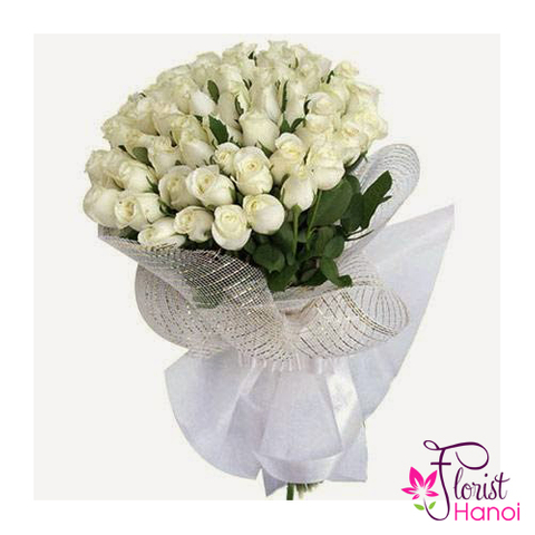 Send white rose bouquet to Hanoi city