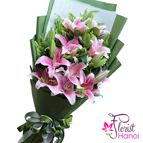 Pink lily flower arrangement in Hanoi Vietnam