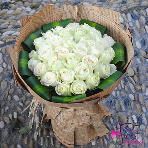White roses delivery now in Hanoi