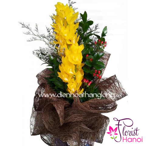 Yellow cymbidium bouquet in Florist Hanoi