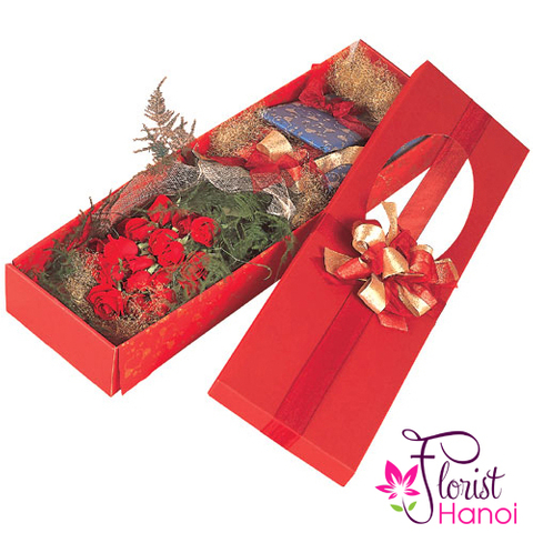 Box red roses in hanoi florist