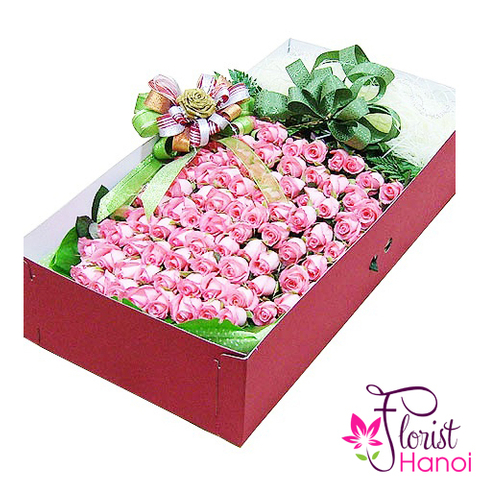 100 pink rose box in hanoi florist