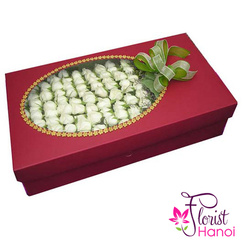 100 white rose in box