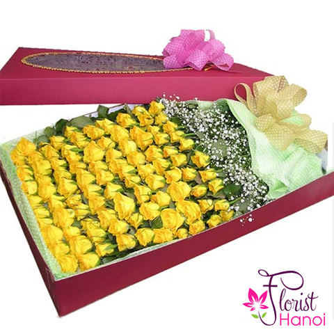100 yellow roses box in hanoi