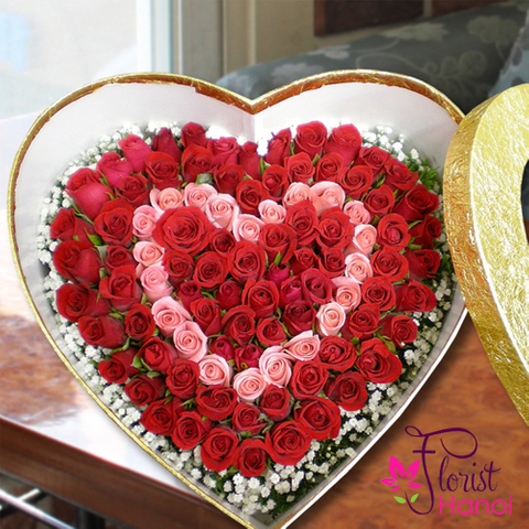 Heart rose box happy day