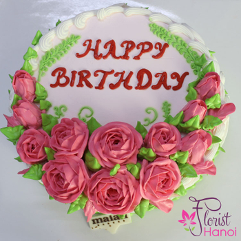 Send cake with birthday flowers to hanoi
