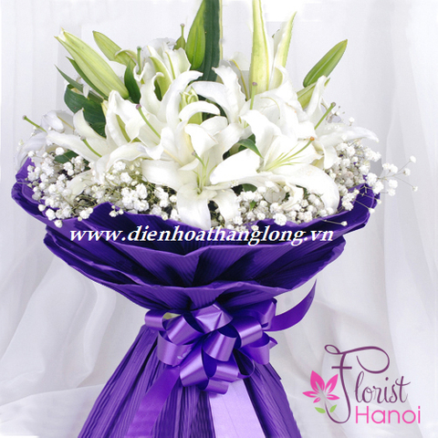 White lilies for birthday flowers