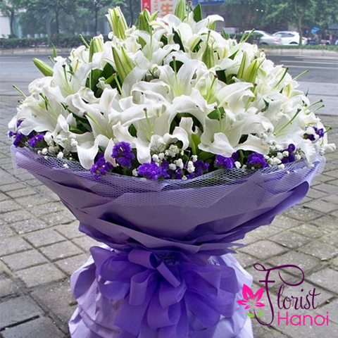 Hanoi vip bouquet with white lily flowers