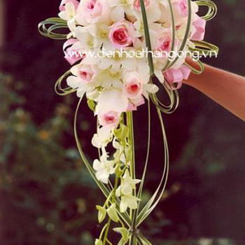 WEDDING BOUQUET ORCHID AND PINK ROSES