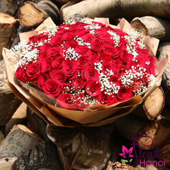 99 red roses with baby breath for love