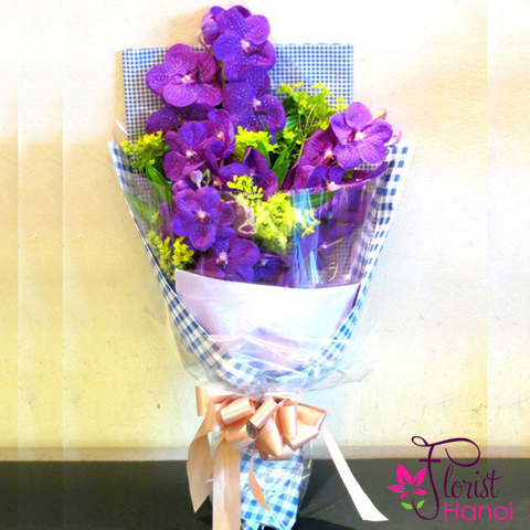 Purple Vanda orchids for daddy