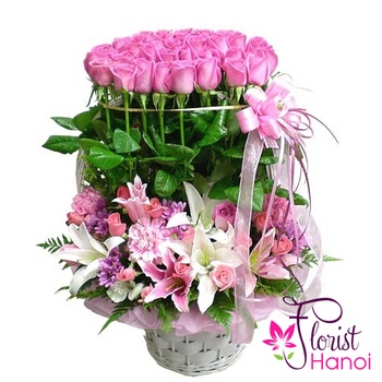 Pink flower arrangement in hanoi florist mightylinksfo