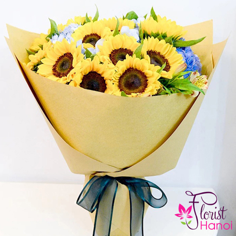Sunflower birthday bouquet in florist Hanoi